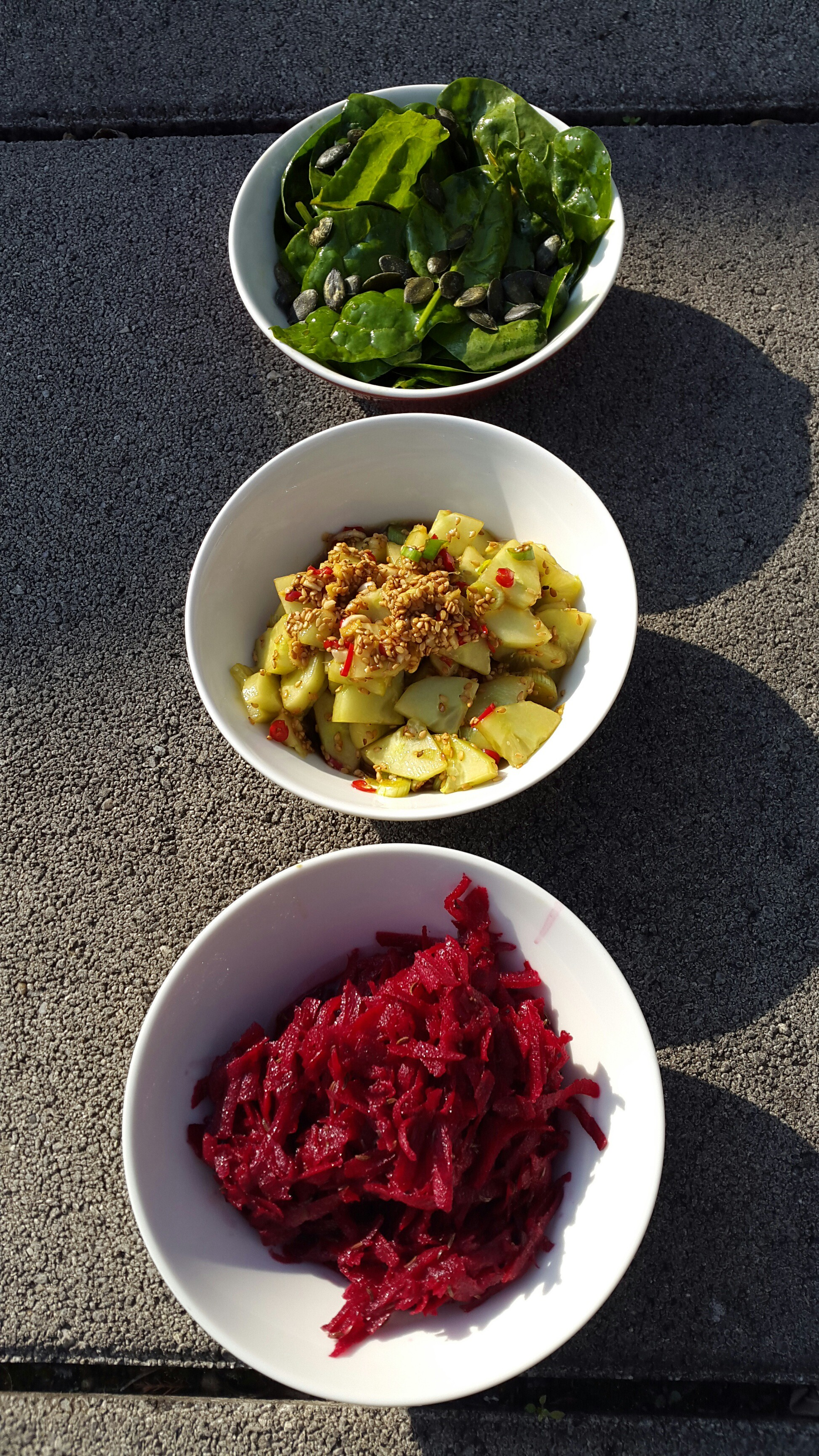 drei salate in 15min